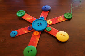 button snowflake ornament raised from scratch