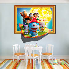 popular doraemon mural buy cheap lots from china new diy translucent wall stickers cartoon doraemon children room painting for home