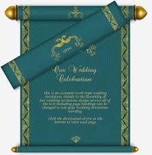 indian wedding scroll invitations teal gold scroll email wedding invitation