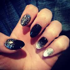 almond nails with black and silver sparkles nails pinterest