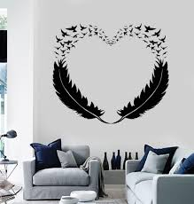 vinyl wall decal feathers heart decor love birds romantic stickers vinyl wall decal feathers heart decor love birds romantic stickers 299ig from wallstickers4you