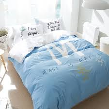 4pcs light blue bedding set letter m duvet cover letter pillowcase 100 cotton simple style