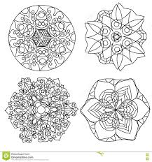 relaxing coloring page with mandala abstract flowers for kids and