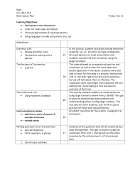 sample lesson plan with learning objectives