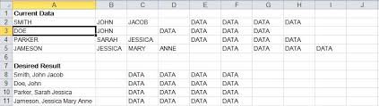 excel how to concatenate cells in a row until the first blank