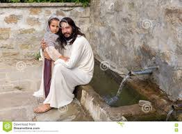 jesus with a at a water well stock photo image 85474091