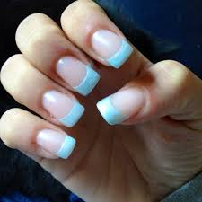 simple light blue acrylic nail tip design super super cute