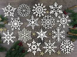 set of 15x wooden snowflake ornaments laser cut