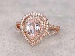 Teardrop Wedding Ring by 1 Carat Pear Shaped Morganite Engagement Ring Diamond Promise Ring