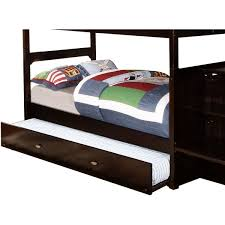 Youth Bunk Beds Cambridge Espresso Finish Wood Slide Out Trundle For Cambridge