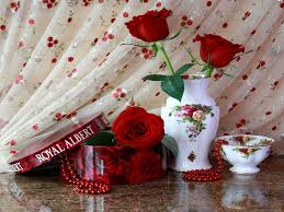 Vase With Pearls Flower Red Roses Photography White Harmony Candies Romantic