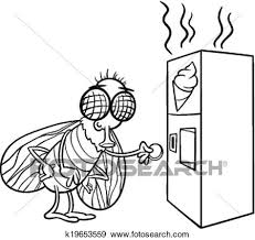 clip art of fly and vending machine coloring page k19653559