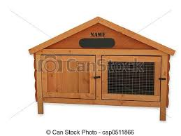wooden tongue and groove rabbit hutch over white stock image