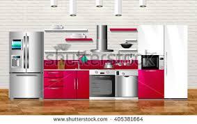 Kitchen Appliance Cabinets Modern Interior Emerald Gray Kitchen Floor Stock Vector 624760568