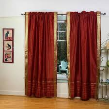 Rust Colored Kitchen Curtains by Amazon Com Rust Rod Pocket Sheer Sari Curtain Drape Panel