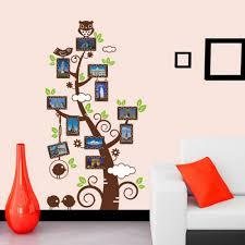 family tree photo frames owl and birds wall sticker easy peel family tree photo frames owl and birds wall sticker
