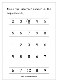 preschool number worksheets sequencing to 10 maths basic counting