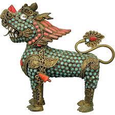 turquoise foo dogs for sale tibetan inlaid coral turquoise foo dog brass figurine