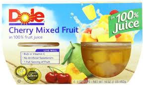 dole fruit bowls dole fruit bowls cherry mixed fruit 4 count 4 oz cups pack of