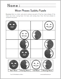 moon phases sudoku puzzle for kids free to print pdf