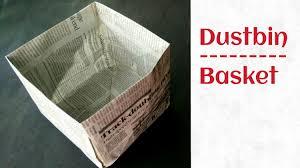 trash bin dustbin from newspaper go green tutorial by paper