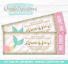 printable mermaid tail ticket birthday invitation rainbow and