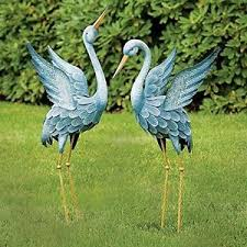 metal crane garden statues sculpture yard outdoor lawn decor