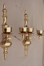 Glass Wall Sconces For Candles Polished Brass Candle Sconces Wall Sconce Set W Crackle Glass
