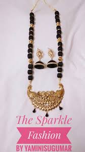 black neck necklace images Silk thread necklace with peacock pendant the sales point jpg