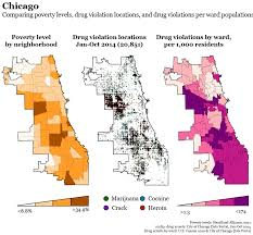 Ward Map Chicago by Drug Arrests Across America