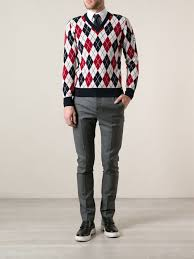 moncler gamme bleu argyle sweater in red for men lyst