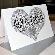 10th wedding anniversary personalised 10th wedding anniversary sparkle card by sew