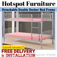 qoo10 detachable double deck bed frame on sale 100