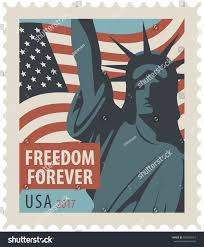 The Flag Of Usa Postage Stamp New York Statue Liberty Stock Vektorgrafik 660960424