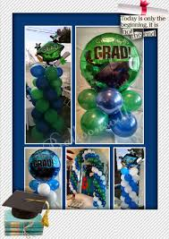 graduation theme balloon decor navy blue green royal blue