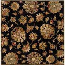 Black And Brown Area Rugs Home Decorators Collection Cove Black Border 6 Ft Round Area Rug