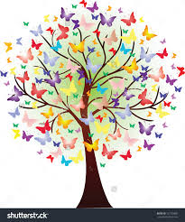 vector beautiful tree consisting of butterflies of different