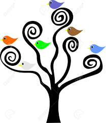 six birds sitting in a tree with spiral branches royalty free