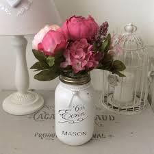 shabby chic eerin mason jar with pink peonies u0026 hydrandrea flowers