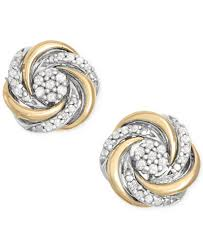earring studs diamond swirl stud earrings 1 10 ct t w in 14k gold and