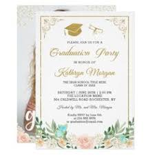 college graduation announcement template trendy gold graduate typography photo graduation card