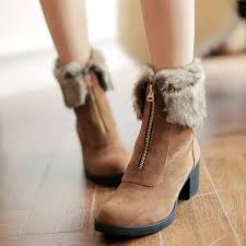 womens size 12 fur lined boots zipper faux fur lining toe wedge ankle boots for