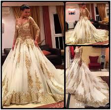 discount gorgeous golden lace muslim wedding dress 2016 v