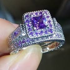 purple diamond engagement rings white gold filled princess cut amethyst diamond ring