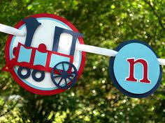 choo choo train cake topper in red and navy blue for birthday or