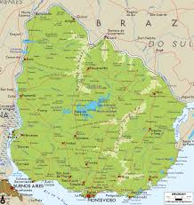 Geographical Map Of South America Large Physical Map Of Uruguay With Roads Cities And Airports