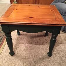 stained table top painted legs find more wood end table stained top with dark green painted skirt