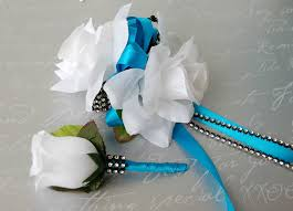 turquoise corsage 2pc set white and turquoise wrist corsage