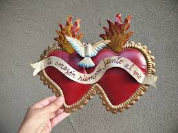 vintage metal sacred heart wall hanging your heart is always near