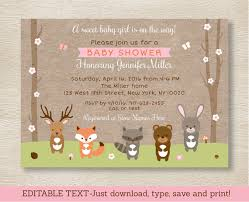 woodland baby shower invitations pink woodland animals baby shower invitation woodland baby